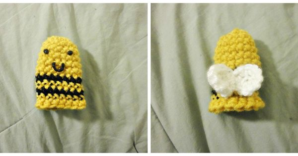 bee finger puppet template - bee finger puppet crochet yellow black striped crochet