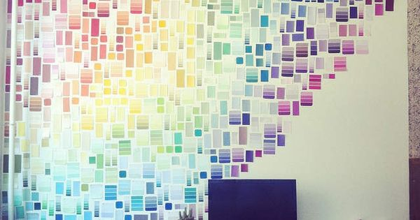 Can't pain, just decorate a wall with paint samples!  Color  Pinterest