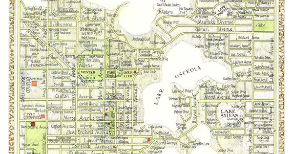 Winter Park Florida Map In Two Sizes Print From Original Drawing Florida Maps Winter