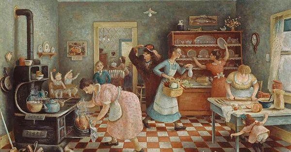Doris Lee Thanksgiving Food On Canvas