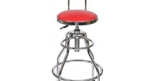 Red work stool hydraulic shop seat chair adjustable tall for Garage seat 78