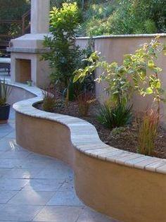 2 Foot High Block And Stucco Wall With Stone Cap Google Search Backyard Patio Backyard Patio