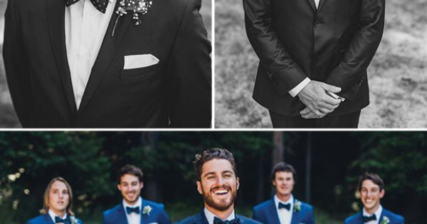 Dudes in matching blue tuxes and bow ties