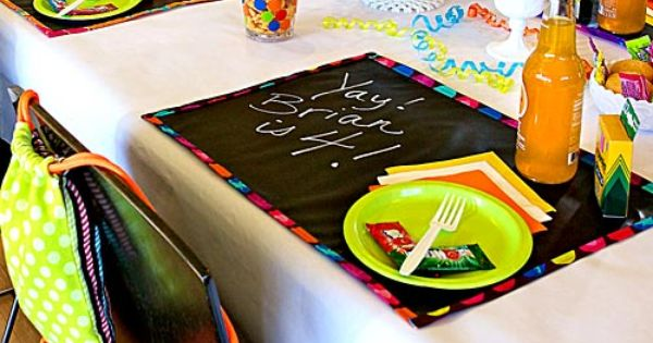 Kid S Birthday Party Color Me Happy Placemats Sew4home Placemats Chalkboard Fabric Chalkboard Placemats