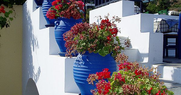 Flowers on the stairs in Zia, Kos Island, Greece - love all
