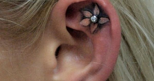 ear tattoo with piercing cute idea. Would get different tattoo