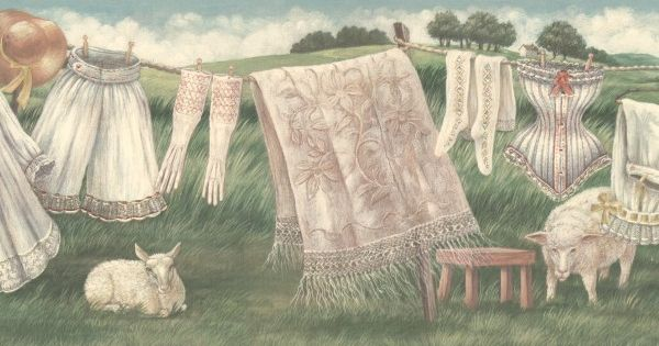 Vintage Country Clothes Line Wallpaper Border