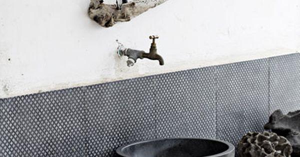 Rustic bathroom design.