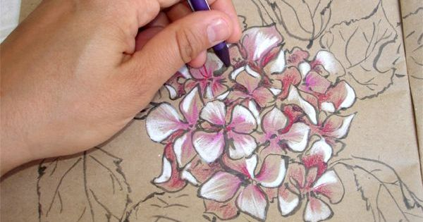 How to draw flowers pencils pastels hydrangea drawing
