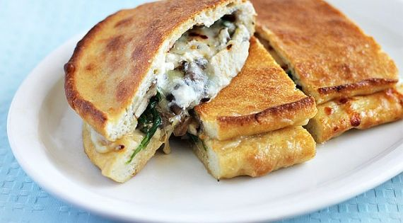 Three Cheese Mushroom and Spinach Calzone - Ezra Pound Cake