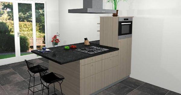 Kenmerken spirit studio semi eiland keuken opstelling 225x120cm half hoge kast met koelkast nis - Outs studio keuken ...