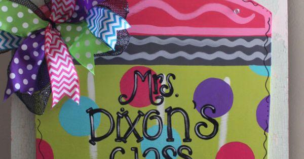 Classroom Decor Etsy ~ Teacher door decor pencil hanger gift