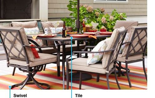 Patio Set With Brown Frames Swivel Chairs And Beige Cushions With Tile Table Top Outdoor Furniture Sets Patio Tiles Patio Chairs