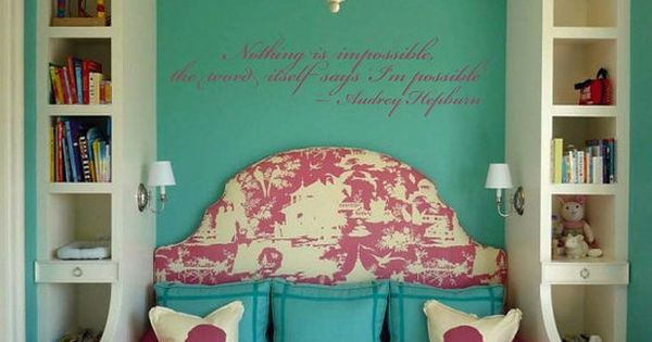 Pink and turquoise, a favorite color combo for a girl's bedroom! And