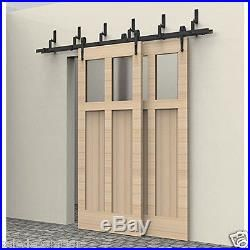 10ft Black Double Track Bypass Style Barn Door Hardware Carbon Sliding Track Set Bypass Barn Door Barn Door Hardware Barn Door