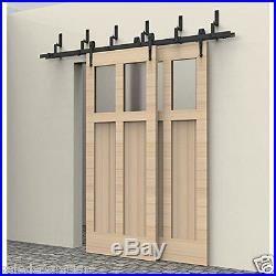 10ft Black Double Track Bypass Style Barn Door Hardware Carbon Sliding Track Set Bypass Barn Door Barn Door Hardware Barn Door