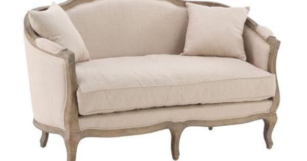 canap bois ch ne ceruse et garnissage plumes style louis xv colori biscuit. Black Bedroom Furniture Sets. Home Design Ideas
