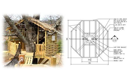 8 Octagon Treehouse Plan Standard Treehouse Plans Attachment Hardware Tree House Plans Tree House Designs Tree House