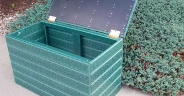 This Is A Recycled Storage Box Made From Several Solid Plastic Sheets That Have A Decorative Design Created To Be A Storage Storage Boxes Outdoor Storage Box