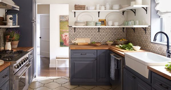 how to kitchen backsplash kitchen with subdued blue cabinets butcher block 4374