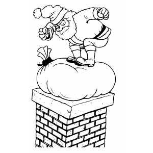 Santa Pushes Sack Into Chimney Coloring Pages Christmas Colors