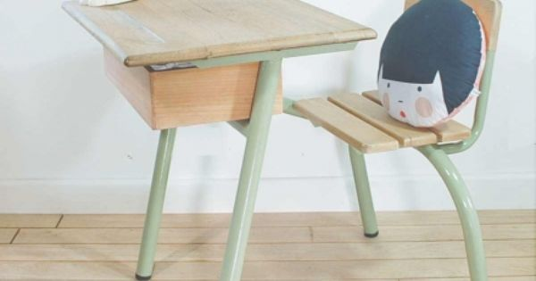 ancien bureau d 39 colier couleur sauge et bois naturel bureau vintage pinterest bureau en. Black Bedroom Furniture Sets. Home Design Ideas