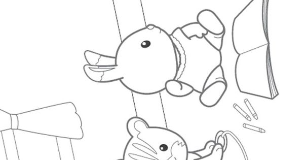 calico cat coloring pages - calico critters coloring page sylvanian families001