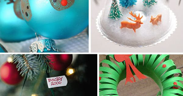easy christmas craft ideas for kids -- those reindeer ornaments are too