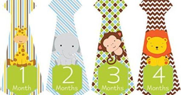 Baby Shower Zilla ~ Tie necktie animals month stickers for bodysuit boy