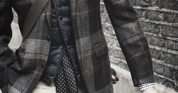 Striped shirt + polka dot tie + quilted vest + plaid jacket