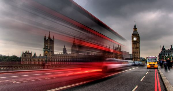 long exposure of a London bus