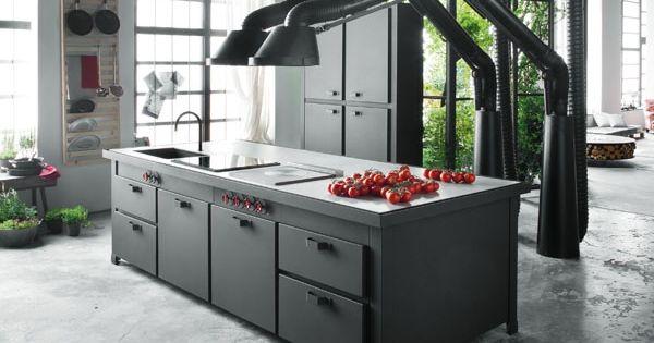 kücheninsel mina schwarz industrie look abzugshaube | küche, Kuchen