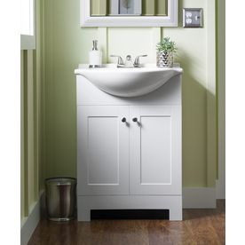 Style Selections Euro 24 In White Single Sink Bathroom Vanity With White Cultured Marble Top Lowes Com Bathroom Sink Vanity Single Sink Bathroom Vanity Bathroom Vanity