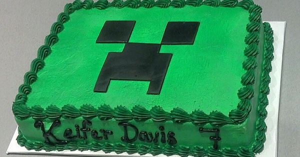 Order a plain green cake and make the creeper face out of black ...