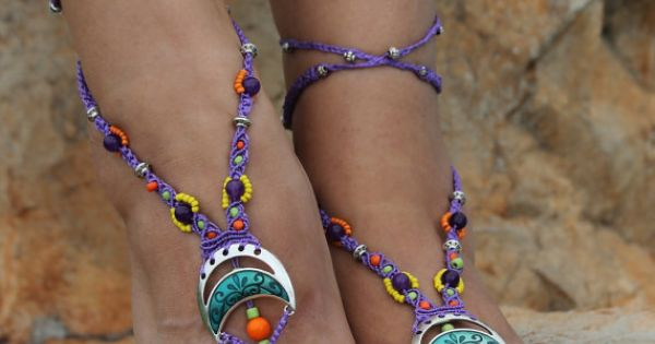 Barefoot Sandal MicroMacrame Foot Jewelry Bohemian by JJJCrafts, $49.00 | See more about Barefoot, Feet Jewelry and Sandals.