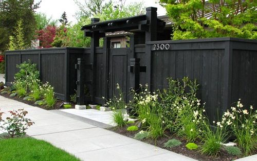 landscape idea Front Yard Fence, Privacy Fence, Dark Fence Gates and Fencing