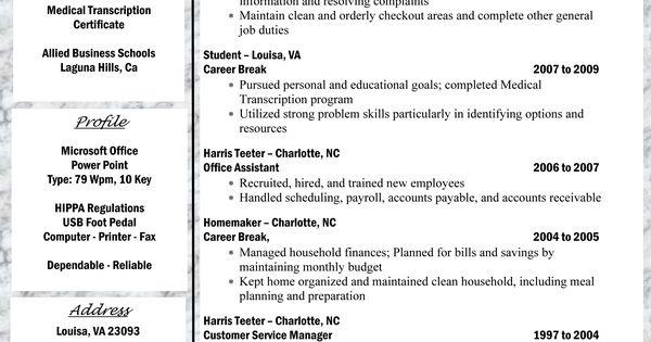 medical transcriptionist resume good to know pinterest resume