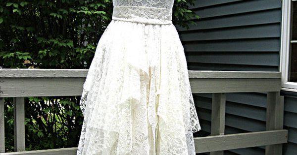 Cream Off White Ivory Tattered Alternative Bride Boho