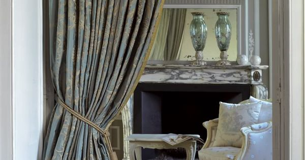 #Drapery with puddle. Traditional Style Blue damask silk with trim drapery panel. Classical Room ...
