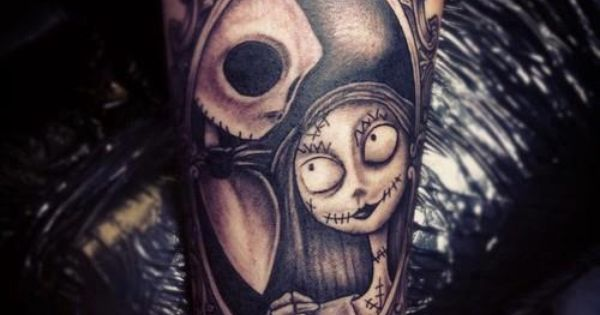 Jack and Sally tattoo framed, The nightmare before Christmas, Tim Burton