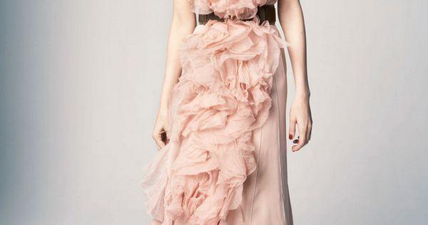 Blush ruffled gown / Nina Ricci ruffles wedding bride pastel soft pink