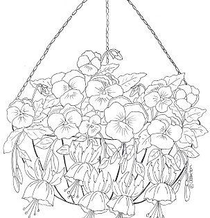 hanging basket of pansies and fuchsia