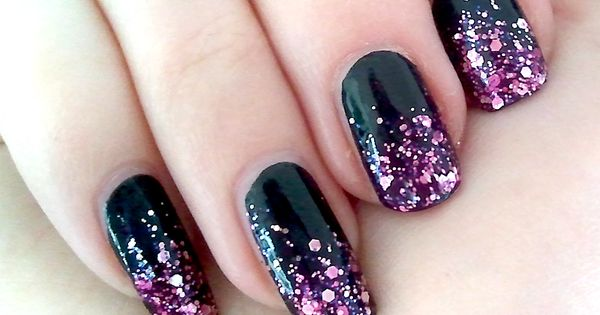 black nails gradient to pink glitter schwarze n gel mit. Black Bedroom Furniture Sets. Home Design Ideas