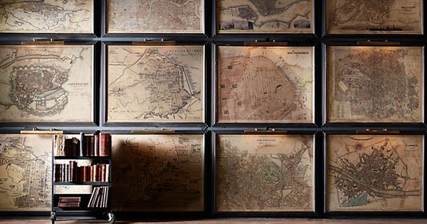 Wall Art Home Hardware : Home decor art vintage map objects of curiosity
