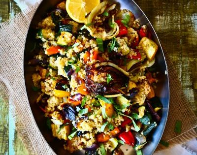 Roasted Veggie Quinoa Salad recipe from The Talking Kitchen. Sounds absolutely wonderful...