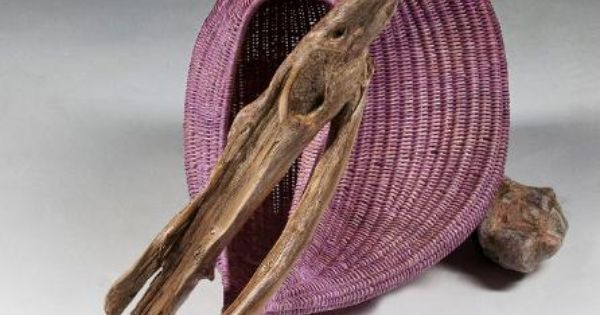 Basket Weaving Dyed Reed : Cruisin  sculptural basket stained reed with