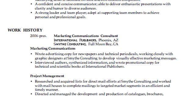 Combination Resume Sample Marketing Communications Manager pg1 - communications consultant sample resume