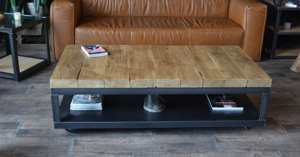 Table basse bois brut et acier id es pour la maison pinterest design et tables La petite table basse en bois brut