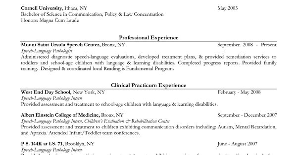 speech language pathology resume 0515