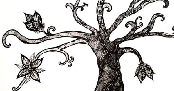 pen art  a2 black and white tree filled with intricate pen